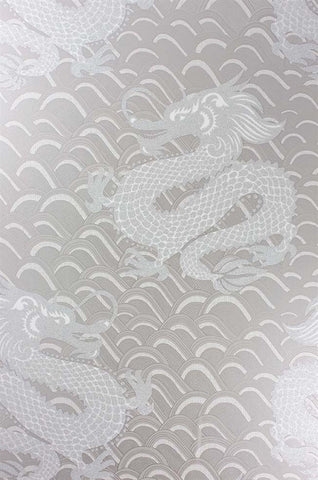 Celestial Dragon Wallpaper in Pebble and Gilver by Matthew Williamson for Osborne & Little