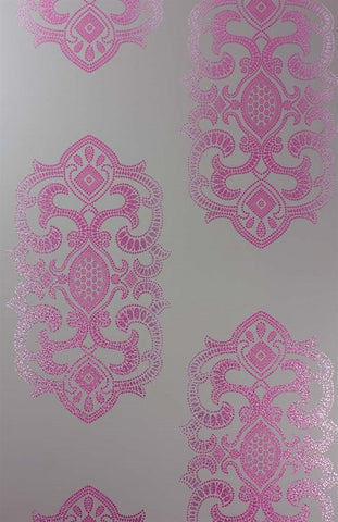 Empress Wallpaper in Pebble and Cerise by Matthew Williamson for Osborne & Little