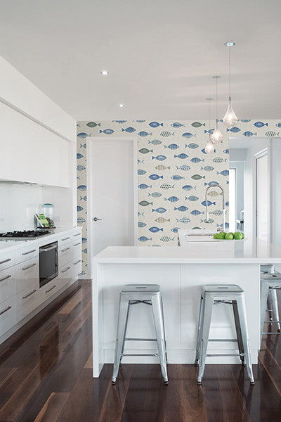 Key West Blue Fish Wallpaper from the Seaside Living Collection by Brewster Home Fashions