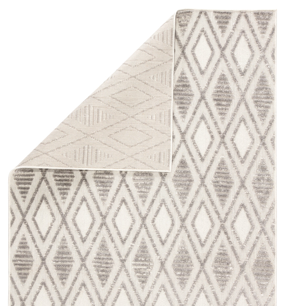 Meira Indoor/ Outdoor Trellis Gray/ White Rug design by Jaipur