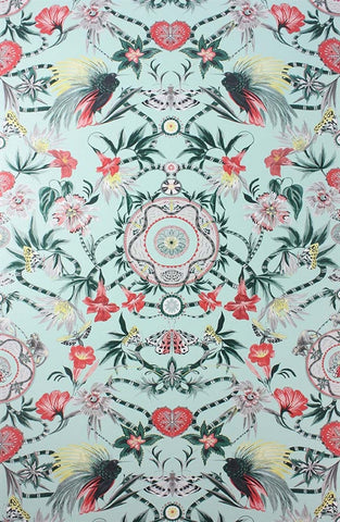 Menagerie Wallpaper in Mint and Scarlet by Matthew Williamson for Osborne & Little