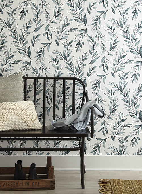 Olive Branch Wallpaper in Teal from Magnolia Home Vol. 2 by Joanna Gaines