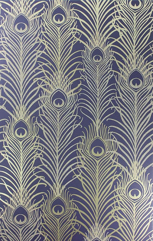 Peacock Wallpaper in Dark Violet and Metallic Gold by Matthew Williamson for Osborne & Little