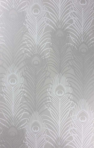 Peacock Wallpaper in Pebble and White by Matthew Williamson for Osborne & Little
