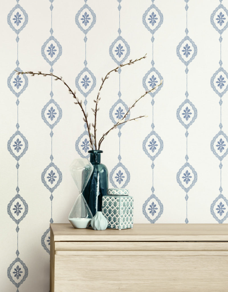 Sand Dollar Stripe Wallpaper from the Beach House Collection by Seabrook Wallcoverings