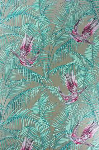 Sunbird Wallpaper in Gold and Fuchsia by Matthew Williamson for Osborne & Little