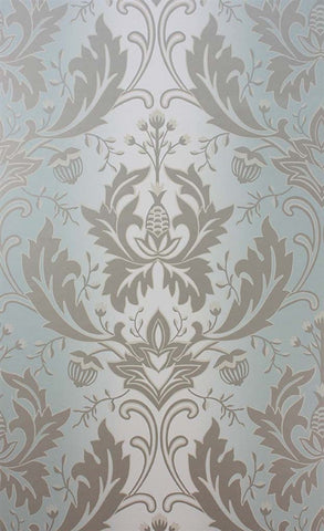 Viceroy Wallpaper in Aqua and Gilver by Matthew Williamson for Osborne & Little