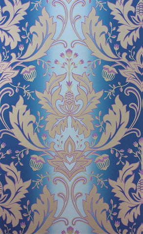 Viceroy Wallpaper in Blue, Lilac, and Gilver by Matthew Williamson for Osborne & Little