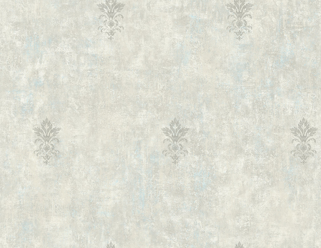 Vintage Fleur de lis Wallpaper in Neutral Grey from the Vintage Home 2 Collection by Wallquest