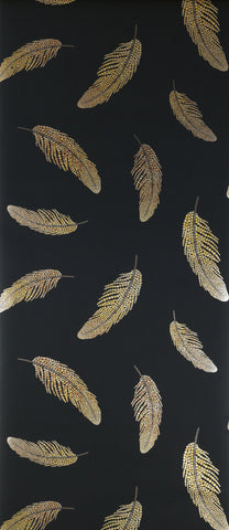 Adornado Wallpaper in black and gold from the Deya Collection by Matthew Williamson