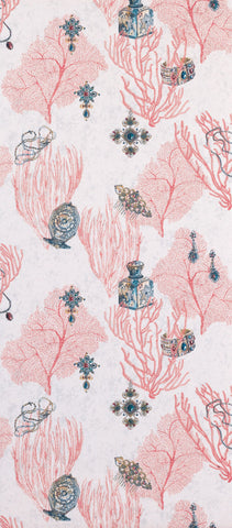 Coralino Wallpaper in red and beige from the Deya Collection by Matthew Williamson