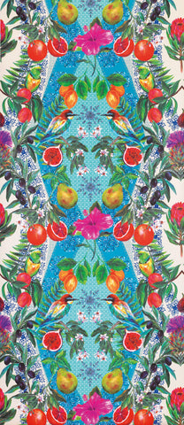 Talavera Wallpaper in citrus fruits and vivid hedgerow flowers by Matthew Williamson
