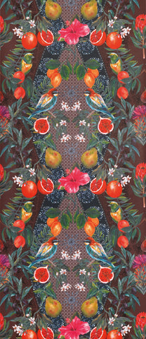 Talavera Wallpaper in colorful fruits and flowers from the Deya Collection by Matthew Williamson