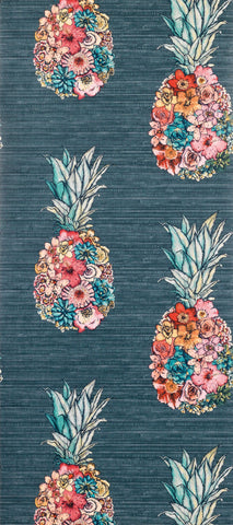 Ananas Wallpaper with colourful petals from the Deya Collection by Matthew Williamson