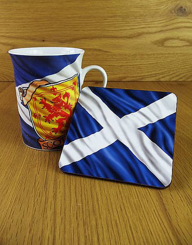 Lion Rampant & Saltire Mug & Coaster Set (Historical Scotland)
