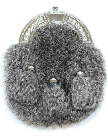Chinchilla Rabbit Fur Sporran & Chain Strap