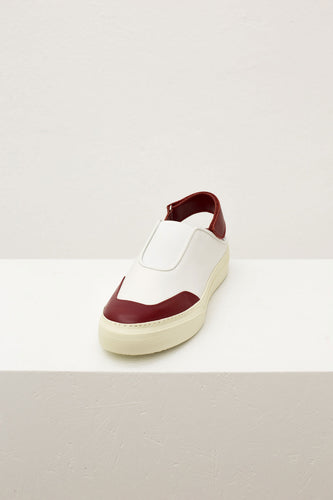 BORDEAUX & WHITE SABOT SNEAKERS WITH STRAP