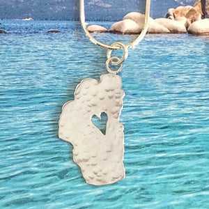 "Lake Tahoe Silver Necklace, 1"" Tahoe"