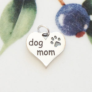 Silver Mom of Dog Heart Charm