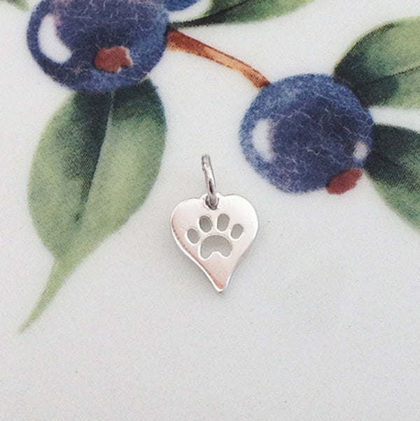 Silver Tiny Paw Print Heart Charm