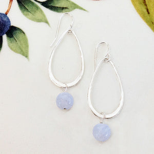 Sterling Silver Blue Lace Agate Teardrop Earrings