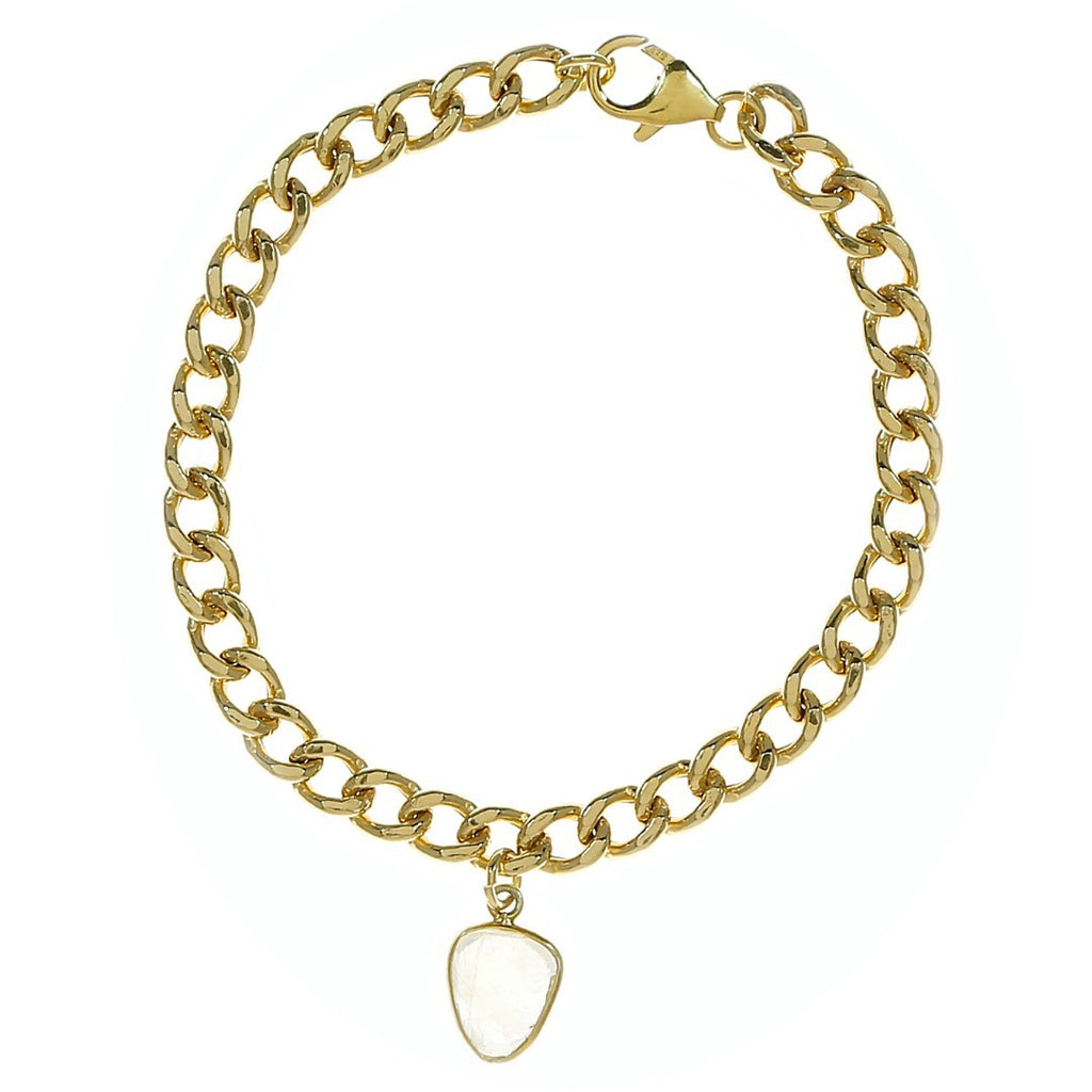 Moonstone Curb Chain Gold Bracelet
