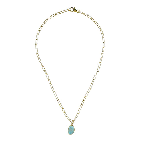 Larimar Link Chain Gold Necklace