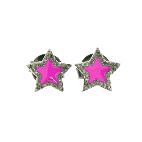 Star Pink Enamel Diamond Studs