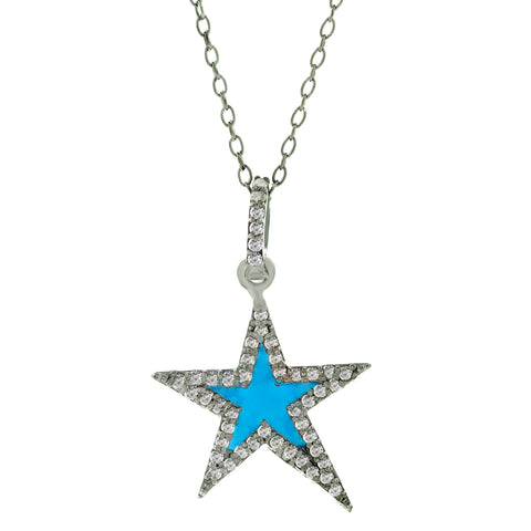 Star Blue Enamel Diamond Necklace