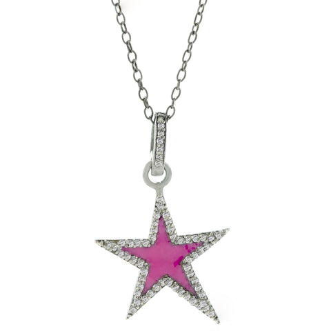 Star Pink Enamel Diamond Necklace