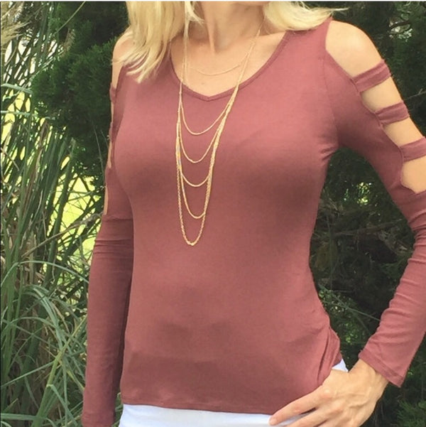 Ladder Sleeve Active Top  - The Peach Mimosa
