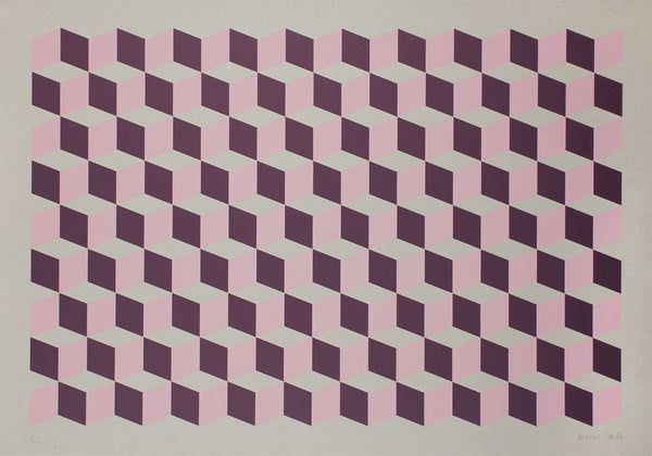 Cubes Pink Purple on grey cardboard