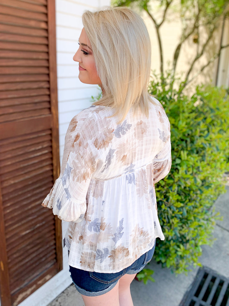 Watercolor Floral Top: Blue