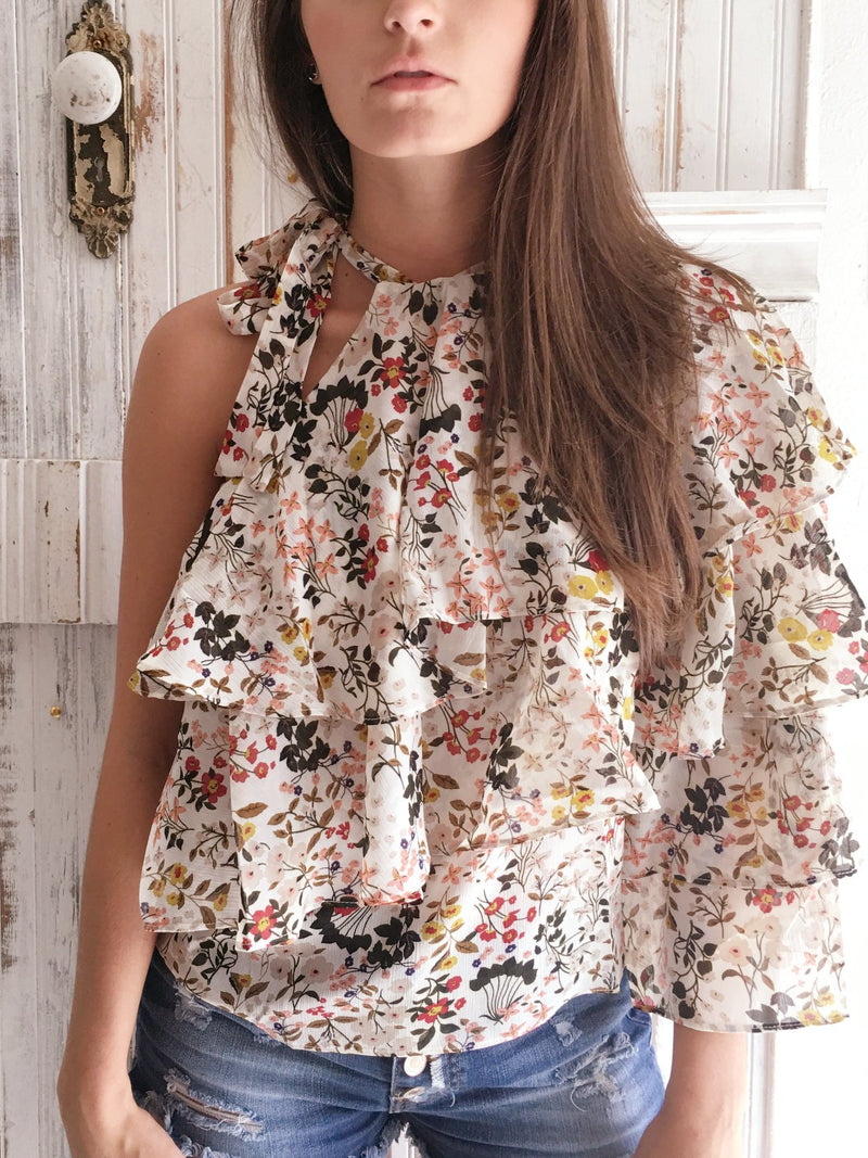 The Lainey Floral One Sleeve Ruffle Top