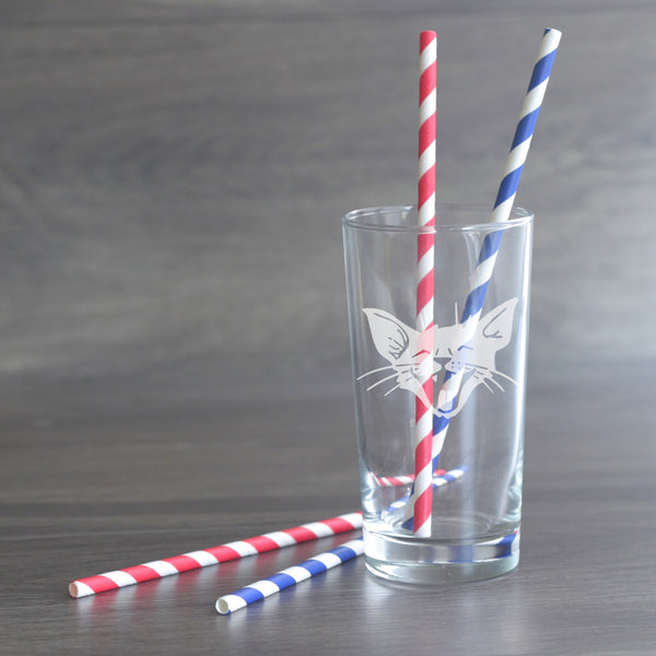Laughing Cat etched highball glass