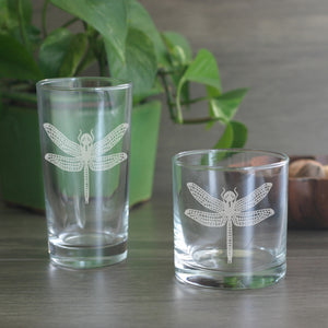 Dragonfly etched cocktail glasses