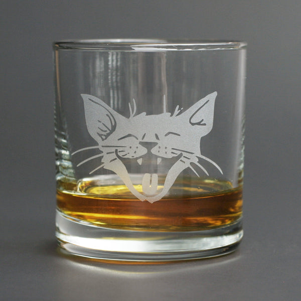 Laughing Cat whisky glass