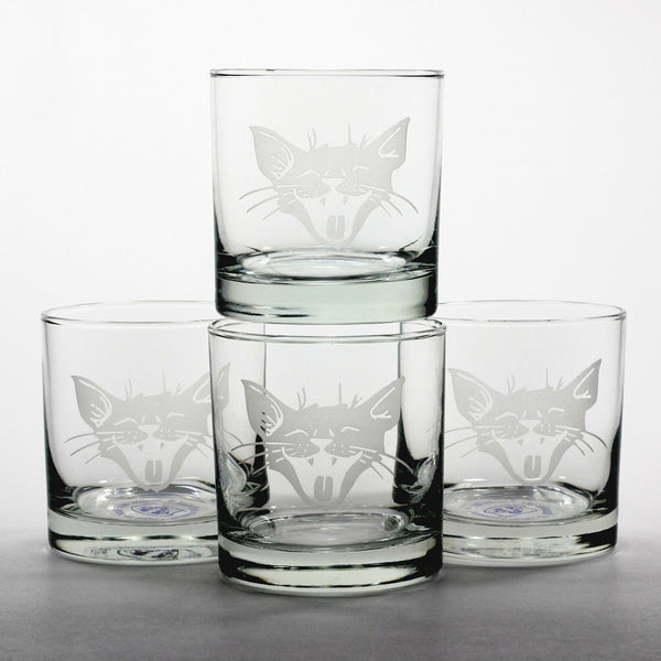 4 Laughing Cat lowball glasses