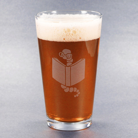 Book worm etched pint glass by Bread and Badger