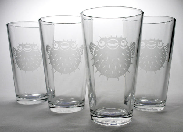 pufferfish pint glasses set of 4