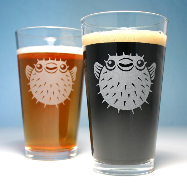 pufferfish etched beer pint glasses
