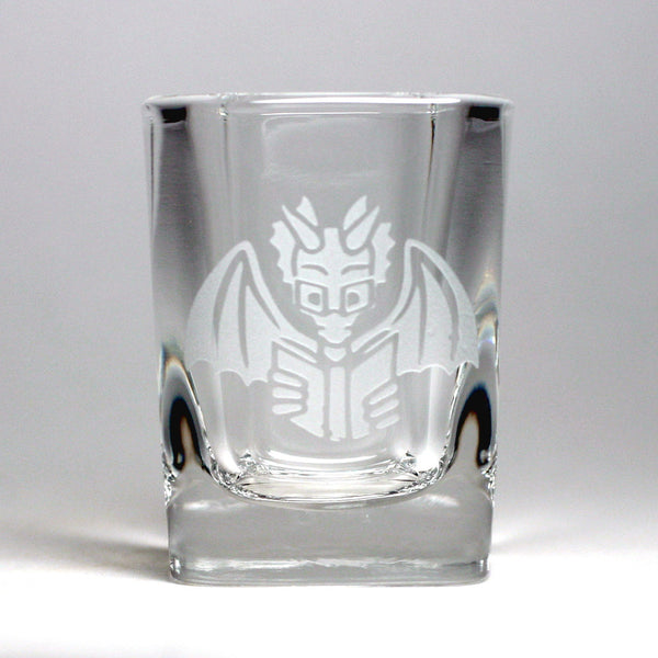 Book Dragon geeky reading shot glass