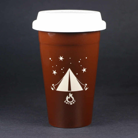 Tent camping travel mug, brown, by Bread and Badger