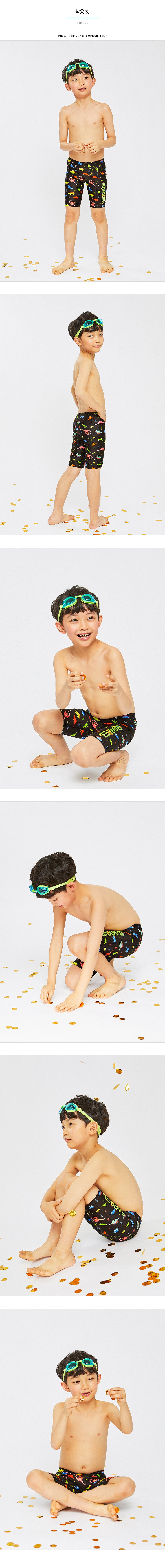 Barrel Kids Training Pattern Jammer Swimsuit-NEON DINO_image