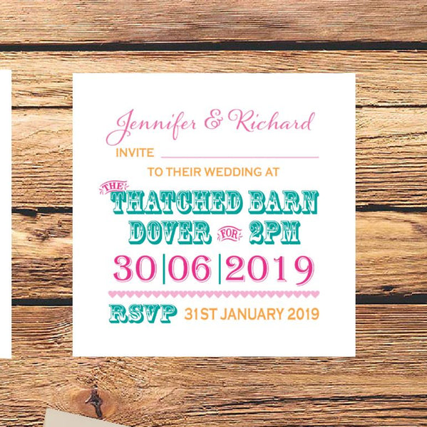 funfair style wedding invite
