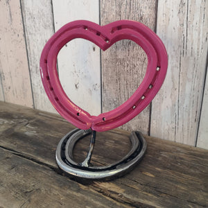 Horseshoe Love Heart in Pink
