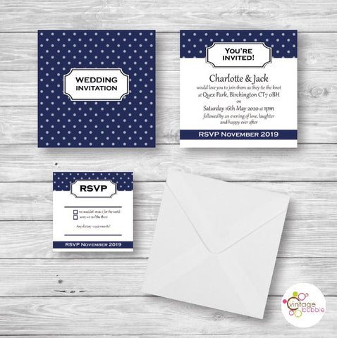 Polkdot wedding invite kent