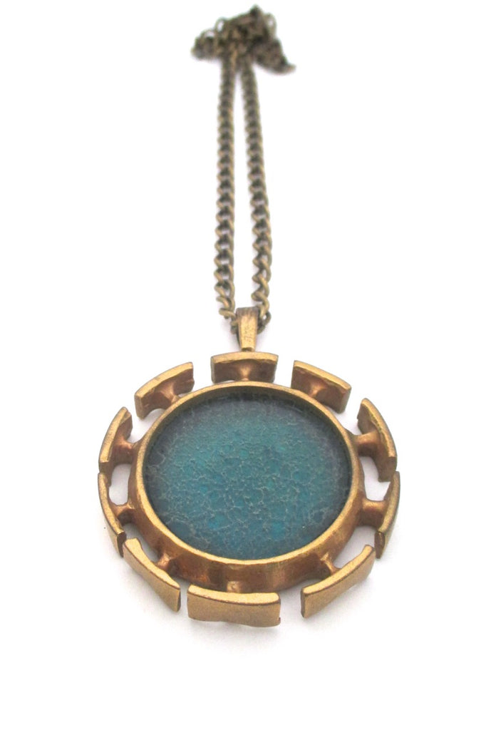 Bernard Chaudron Canada vintage brutalist bronze large two sided two colour pendant necklace