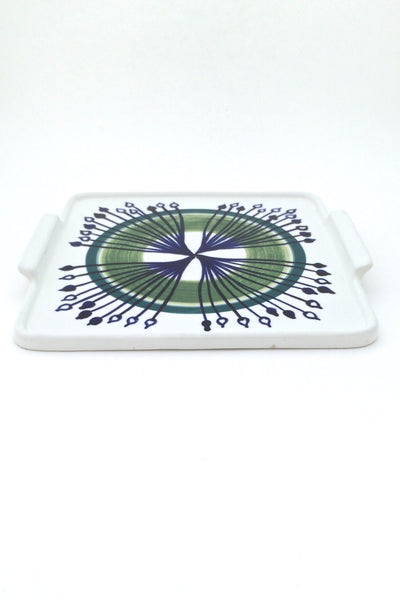 profile Arabia Finland vintage hand decorated mid century ceramic tab handled platter tray