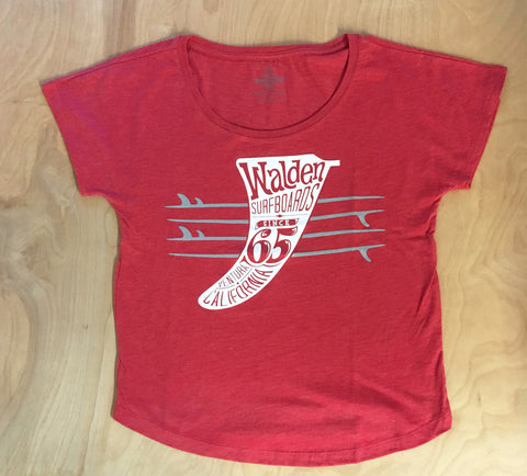 Quiver & fins t-shirt : red